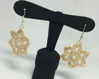 Crochet Earrings flower Water lily Beige
