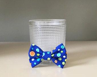 Tiny Dog Bow / Bow Tie - Bright Blue w Colorful Polka Dots
