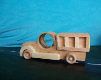 Toy Work Truck Handcrafted from Reclaimed Wood for the Kids, Children
