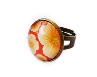 "Bronze ring ""pop"" orange flowers, girl gift"
