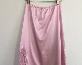 vintage pink slip with lace and rose appliqué