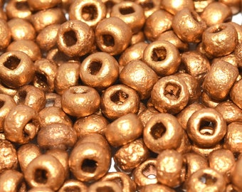 10gr 6/0 Czech Glass Seed Beads Etched, Etched Brass Gold (6SBE024)