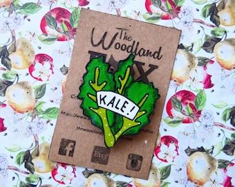 """KALE"" wooden brooch - original creation of The Woodland Fox"