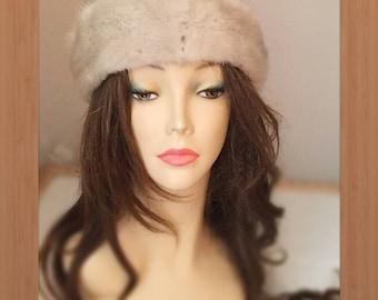 "HE-81 Sapphire Gray Mink Fur Headband 22.5-24.5"""