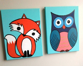 Customized Order for Squirrel Fox & Owl Canvas Set