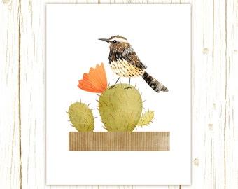 Cactus Wren Print -- bird art -- bird art 52 birds stephanie fizer coleman illustration