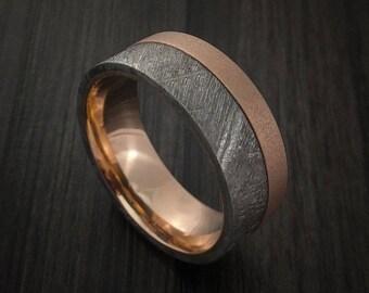 Gibeon meteorite and 18k rose gold band custom made