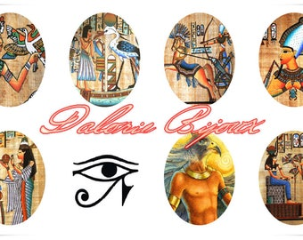 40 x 30 mm, Egyptian, Collage Planche Sheets d'Image digital Egyptian  Ovale 40 x 30 mm