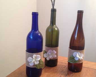 12 Burlap Wine bottle centerpieces  (case discount for your event) 3 color options