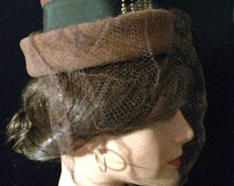 """40s Hat Brown """"Tophat"""" Vintage Wool Felt with Veil Offered"""