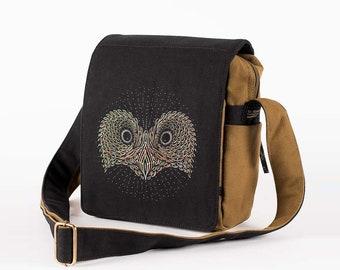 OWL Crossbody Bag, Canvas Bag, Small Handbag, Cross Body Bag, Womens Bag, Mens Bag, Over Shoulder Bag, Owl Gifts, Owl Bag, Lots Of Pockets