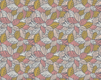 Canopy Leaves Pink  - Rainforest Slumber - Katy Tanis - Blend Fabric 100% Quilters Cotton 124.105.04.1