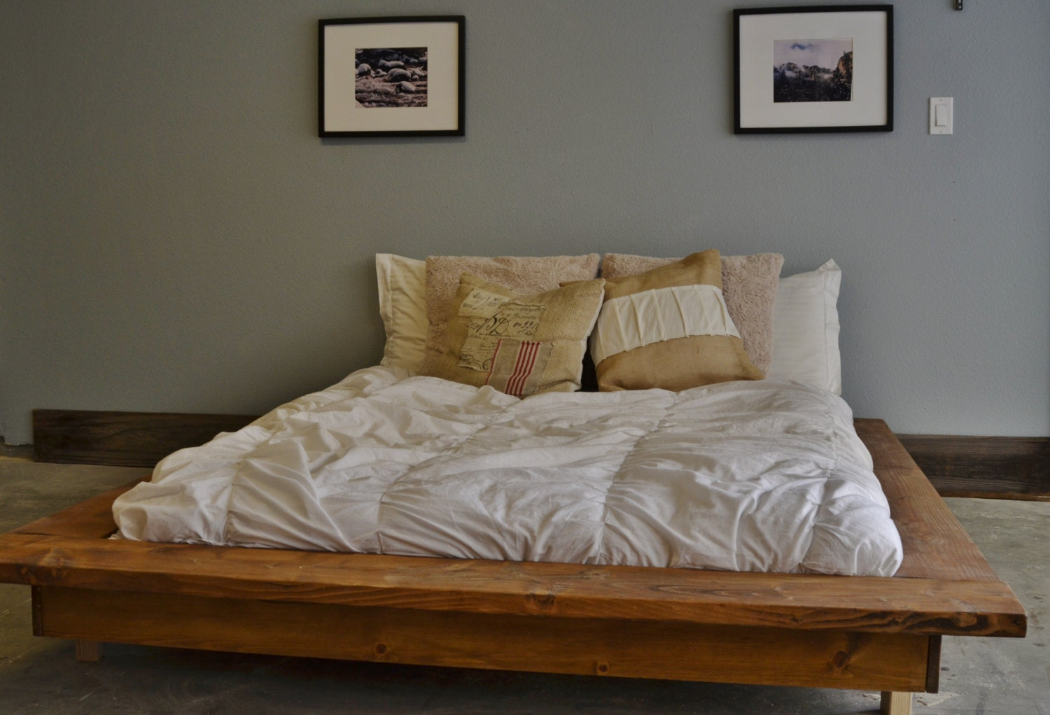 Floating Rustic Wood Platform Bed Frame-Quilmes