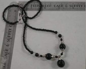 """Vintage  black beaded necklace 16"""" + extension"""