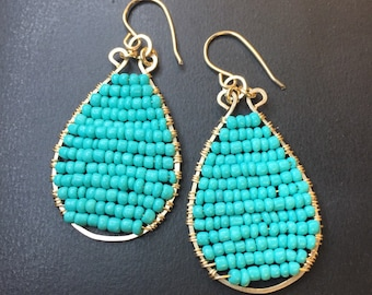Earrings - Teardrop Earrings - Handcrafted 14k Gold Fill Teardrop Earrings - Aqua/Turquoise Beaded Earrings