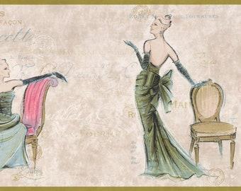 Wallpaper Border Vintage Fashion Paris Evening Dress Beige on Coconut White Wall Decor Modern Design Roll AM8836B
