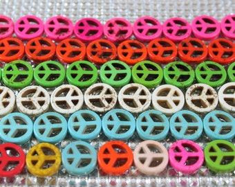 Peace sign beads, Medium: 25mm- 8 beads per strand, howlite