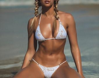 White lace gstring bikinis