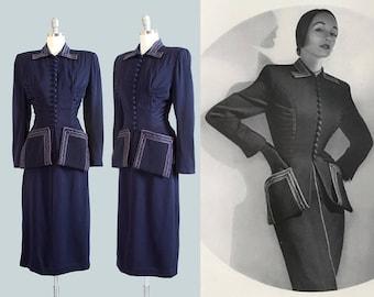 Vintage 1950s LILLI ANN Suit   50s Navy Blue Wool Gabardine Tailored Fitted Peplum Blazer Jacket Pencil Skirt Set (small)