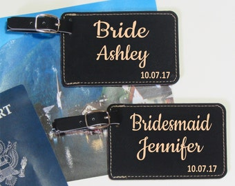 Wedding Party Luggage Tags - Set of 6 - Luggage Tags - Wedding Party Gift - Bridesmaid Gift - Destination Wedding - Wedding Luggage Tags