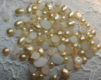 Asst.100pc.lot of flatback creme resin pearl cabs,100pcs-CAB100