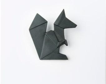 PORCELAIN  BROOCH SQUIRREL/Black porcelain/Porcelain origami/Origami pin/Origami brooch/Porcelain pin/Japaneese origami/Origami squirrel