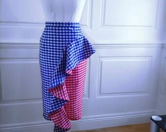 NICKA Gingham Ruffle Pencil Skirt