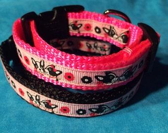 Dog collar  - Kissing Boston collar skinny medium