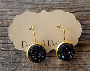 12mm Black Druzy Earrings in a Gold Leverback Setting