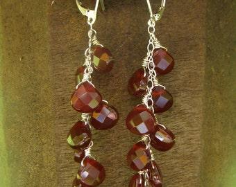 Sterling silver faceted carnelian Waterfall earrings