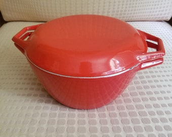 Michael Lax Copco Dutch Oven D2 Danish Vintage Enamelware Cookware Burnt Orange Enameled Cast Iron Made in Denmark Lidded Pot Mid Century