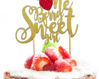 "1 pc ""One Berry Sweet girl "" script Gold Glitter Cake Topper for first Birthday Baby girl fruit Strawberry summer cake smash party"