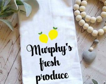 Personalized lemon farm fresh produce cotton kitchen flour sack towel