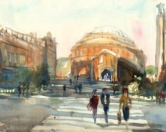London Cityscape Royal Albert Hall Landscape Original Watercolour london city picture British Artist Large A2 38 x 56cm (22 x 14.9 Inches)