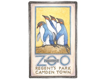 Illustrated Regents Park London Zoo Art Print