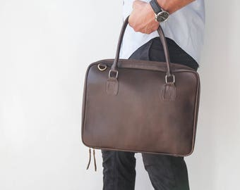 Mens Leather Laptop briefcase, Laptop Sleeve, Mens leather bag, leather Brief Case, mens gift, gifts for him, Laptop Case