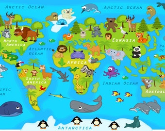 Xl world map etsy world map decal countries of the world map kids country world map poster peel gumiabroncs Images