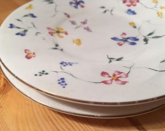 Rare Totally Today Vintage Phlox China Tea Saucers- Set of 2 w/ Yellow Blue Pink Flowers Floral Pattern and Gold rim trimming!