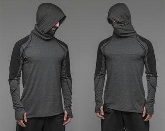 Ninja long sleeve hoodie, men's grey cosplay clothing, assassin creed blazer, burning man jumper, dust mask, black turtleneck top Jedi A0099