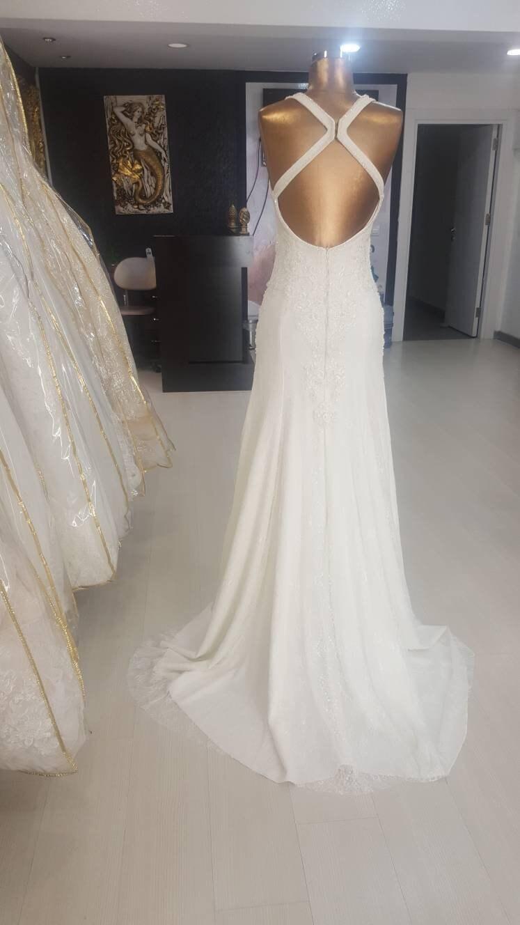 Mantel Brautkleid inspiriert von Pronovias. offene Rückseite