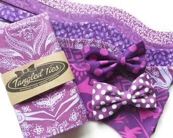 Wedding Bow Ties Purple, Purple Wedding Bow Ties, Purple Self-Tie Bow Tie, Groomsmen Bow Ties
