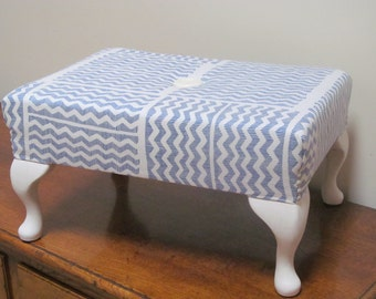 Footstool - medium size, finished in a beautiful light weight linen fabric