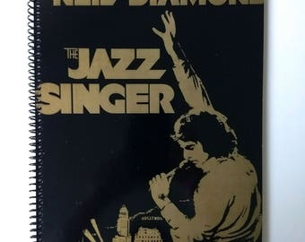 """Neil Diamond Sketchbook Hand Made from Upcycled Vinyl Record Album Cover """"The Jazz Singer"""""""