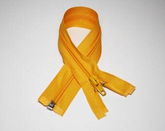 Zip closure, 30 cm, detachable, yellow and orange