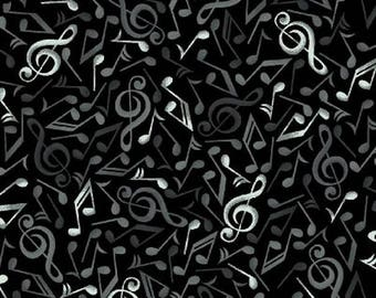 Fabric patchwork fabric black music note