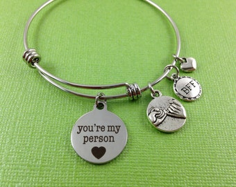 You're My Person Charm Bracelet, Pinky Swear Bracelet, Best Friend Charm Bracelet, BFF Bracelet, Best Friend Gift, Best Friend Bangle
