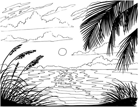 coloring pages island scene - photo#43