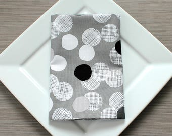 Cloth Napkins, Cotton Napkins, Hostess Gift, Black and White, Dinner Napkins, Eco-Friendly, Reusable, House Warming Gift, Bridal Shower Gift