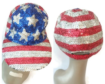 Sequin American Flag Hat Cap Red White Blue 80s 90s Fourth of July Independence day vintage