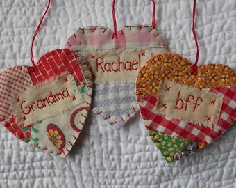PERSONALIZED Heart Snippet Ornament - Stitched from Upcycled Vintage Quilt Piece